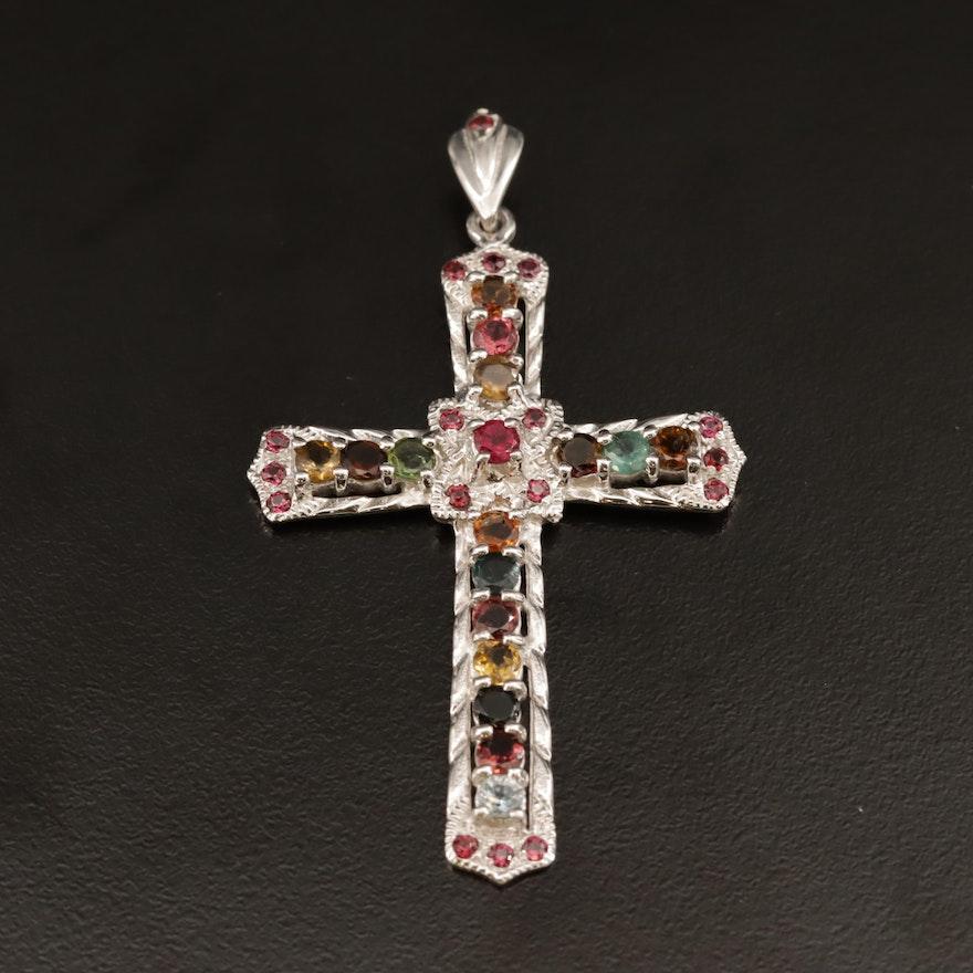 Sterling Silver Gemstone Cross Pendant