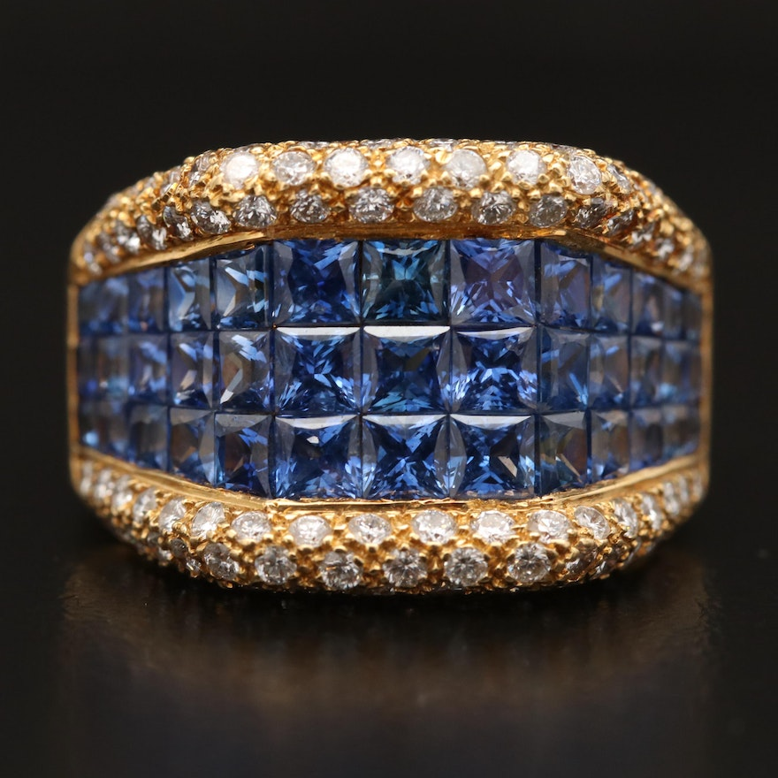18K Invisible Set Blue Sapphire and 1.00 CTW Diamond Ring