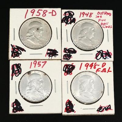 Four High Grade Franklin Silver Half Dollars, 1948 to 1958