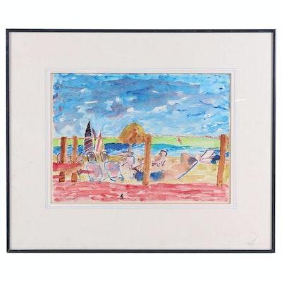 """Leo E. Lipetz Watercolor Painting """"Beach Holiday"""", 1987"""