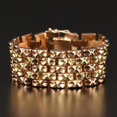 18K Two-Tone Panther Link Bracelet