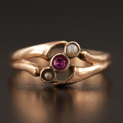 Victorian 8K Seed Pearl, Ruby and Faux Pearl Ring