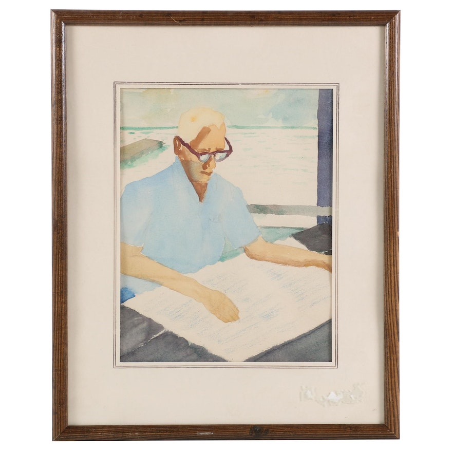Watercolor Painting of Figure Reading