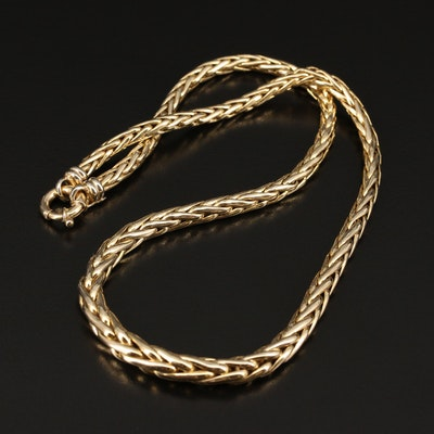 14K Graduated Wheat Chain Necklace