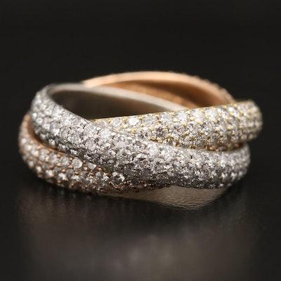 18K Tri-Color Pavé 6.33 CTW Diamond Rolling Ring