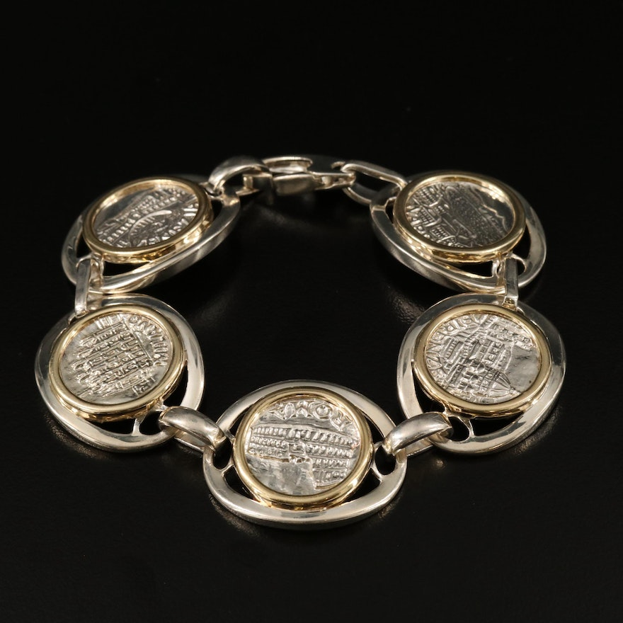 Italian Sterling Silver Bracelet with Commemorative Medals