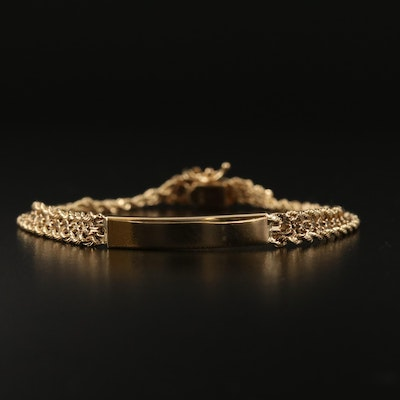 14K ID Bracelet with Double Rope Chain