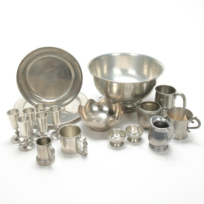 Woodbury Footed Bowl, Cordial Glasses, and Other Pewter Table Accessories