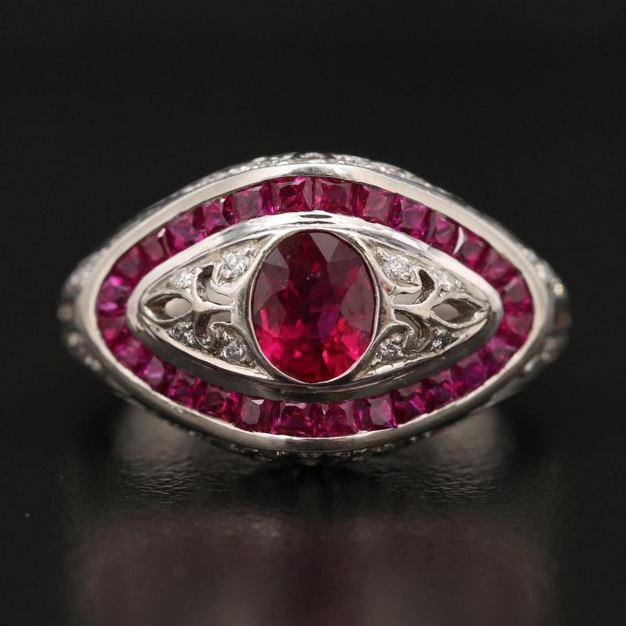 Vintage Platinum Ruby and Diamond Ring