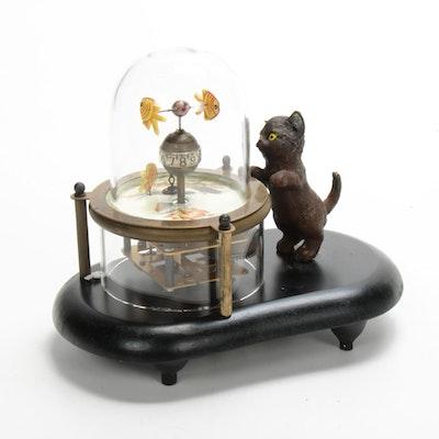 Cat Watching Fishbowl Automaton Clock