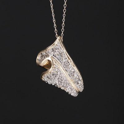 14K Diamond Folded Pendant Necklace