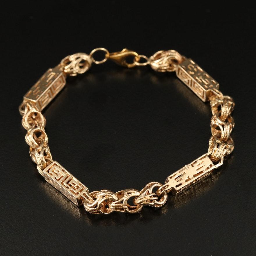 Greek Key Link Bracelet in 14K