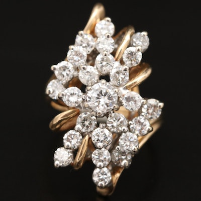 14K 2.65 CTW Diamond Bypass Ring