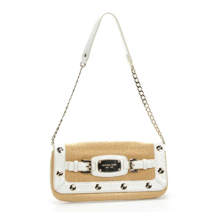 Michael Kors White Patent Leather and Straw Shoulder Bag