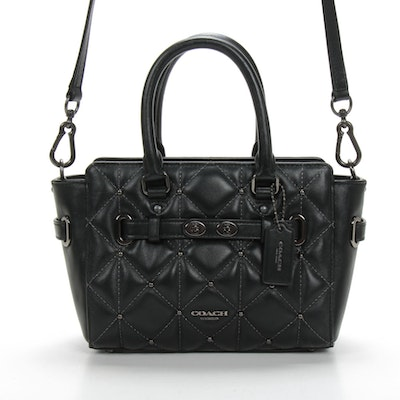 Coach Mini Blake Two-Way Handbag in Studded Diamond Quilted Black Leather
