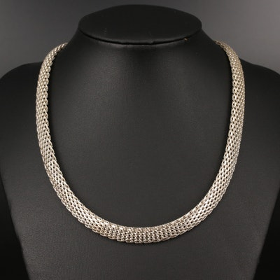 Sterling Silver Mesh Link Necklace