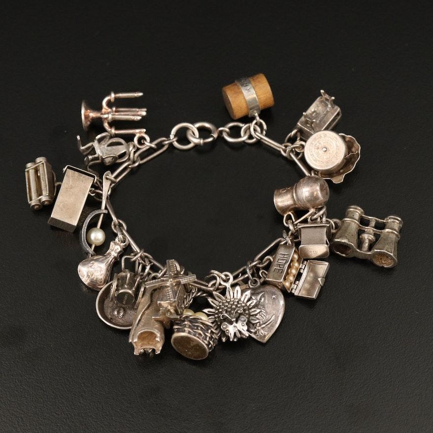 Vintage Sterling Silver Charm Bracelet Including Hope Chest Charm