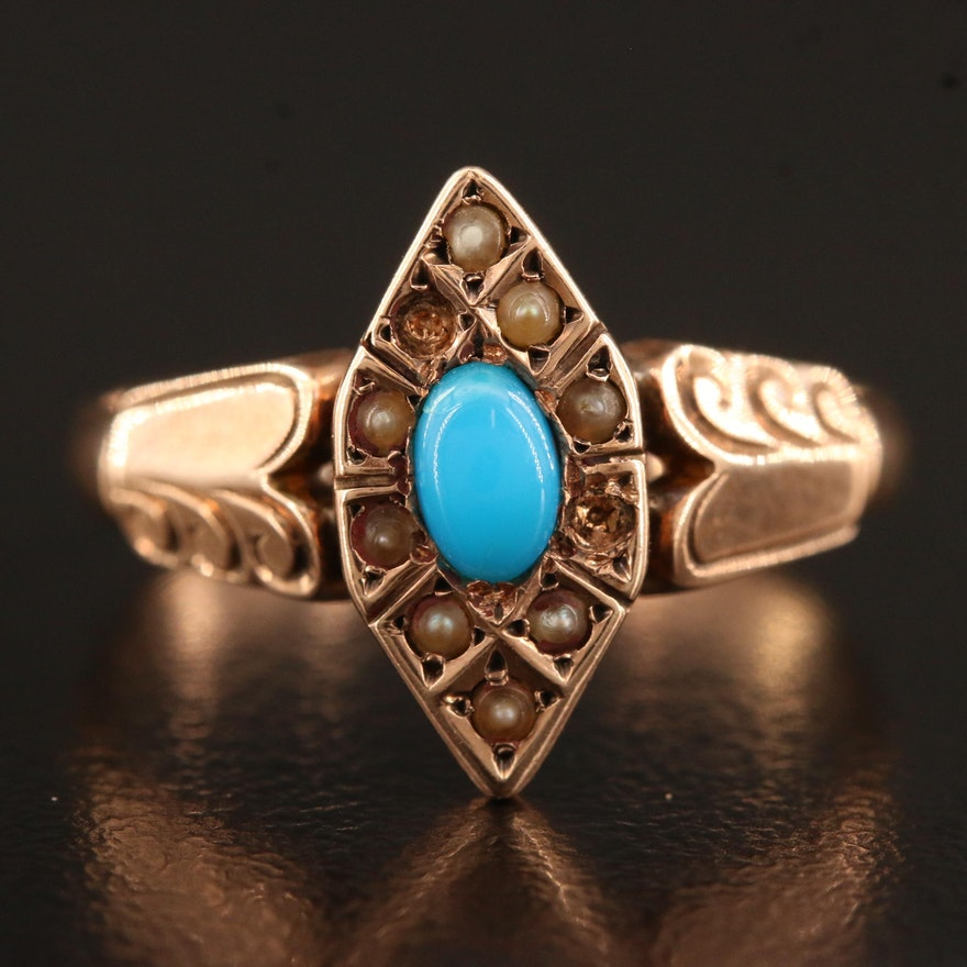 Victorian 10K Rose Gold Turquoise and Pearl Navette Ring with Engraved Detail
