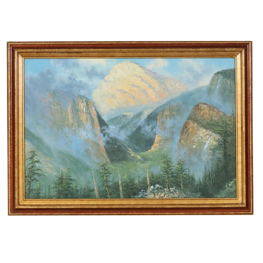 Impressionist Style Oil Painting of Mountain Forest Landscape, Late 20th Century