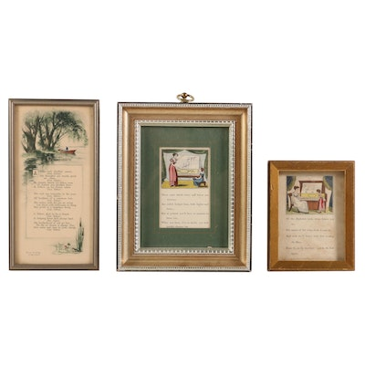 Piano Lesson Illustrations Hand-Colored Lithographs and Other Offset Lithograph