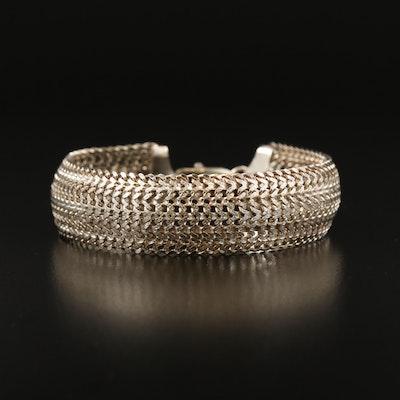 Sterling Silver Textured Mesh Bracelet