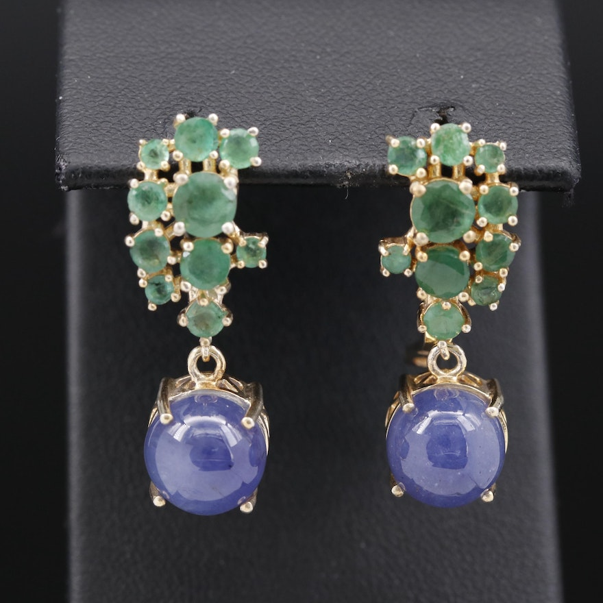 Sterling Silver Tanzanite and Emerald Drop Earrings