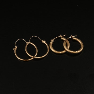 Two Pairs of 14K Hoop Earrings