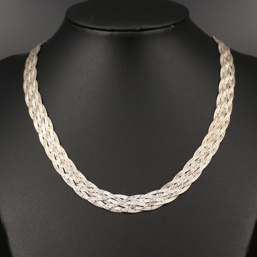 Sterling Silver Braided Herringbone Necklace