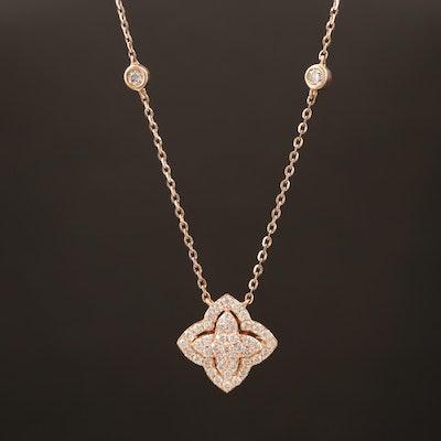 14K Rose Gold Diamond Station Necklace