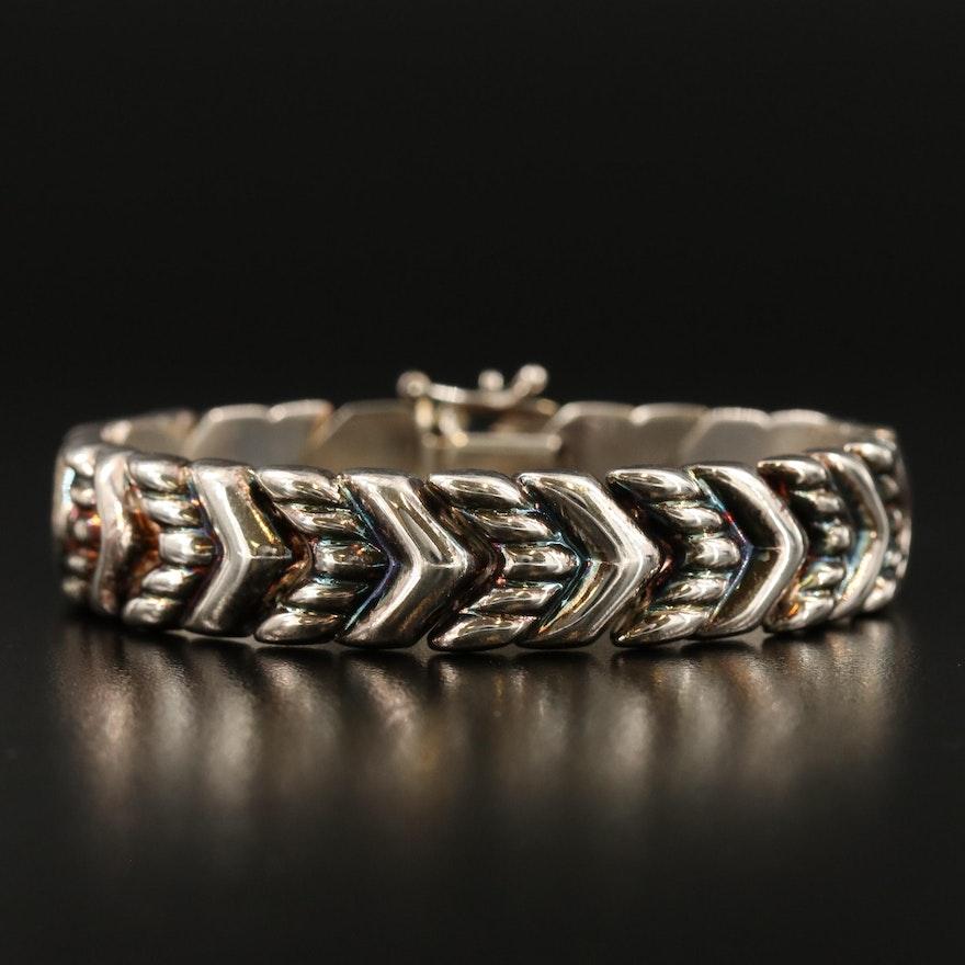 Sterling Silver Chevron Link Bracelet