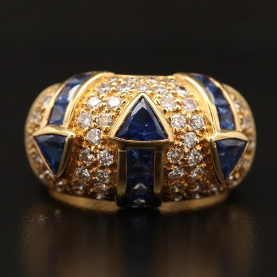 18K Sapphire and Diamond Ring with Arrow Design