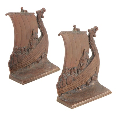 Solid Brass Viking Ship Bookends, Early to Mid-20th Century