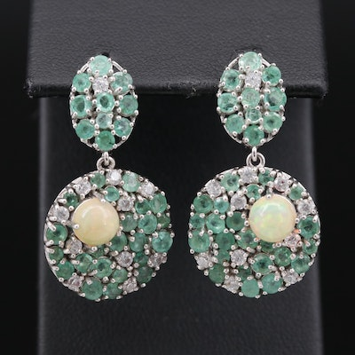Sterling Silver Opal and Emerald Dangle Earrings