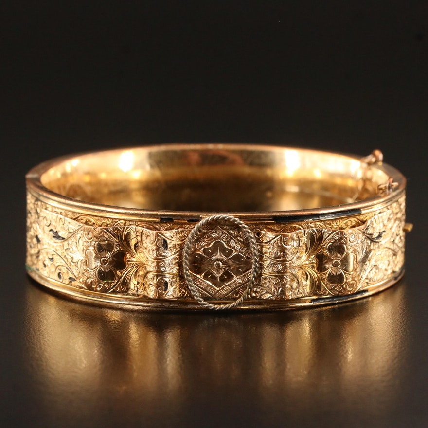 Victorian Revival Binder Bros. Inc. Hinged Bangle with Etched Detailing