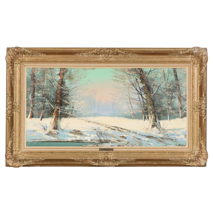 Josef Lehner Oil Painting of Winter Forest Interior, Mid to Late 20th Century