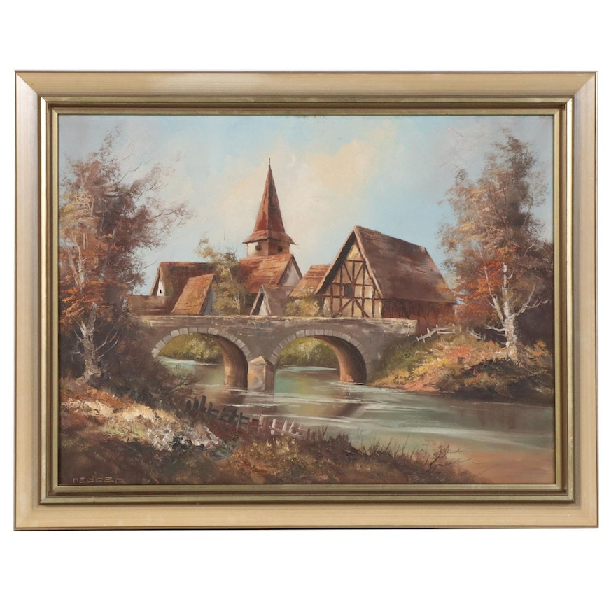 Oil Painting of German Riverscape