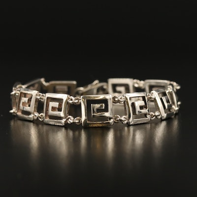 Sterling Silver Greek Key Link Bracelet