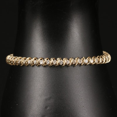 14K 1.53 CTW Diamond Spiral Motif Line Bracelet