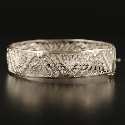 Vintage Sterling Silver Hinged Bangle with Filigree Design