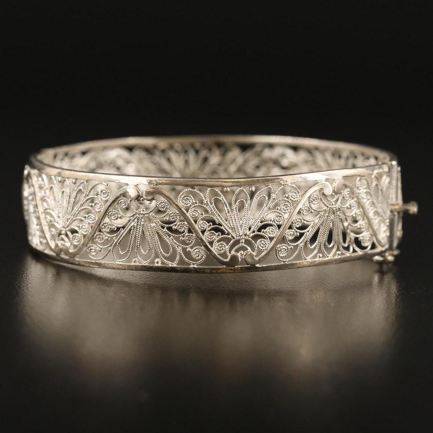 Vintage Sterling Silver Hinged Bangle with Filigree Design