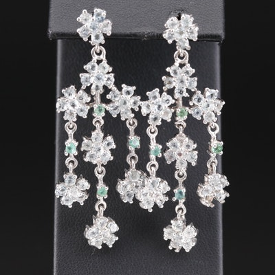 Sterling Silver Aquamarine and Emerald Chandelier Earrings