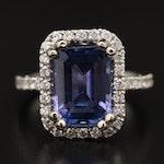 14K 4.66 CT Tanzanite and Diamond Ring