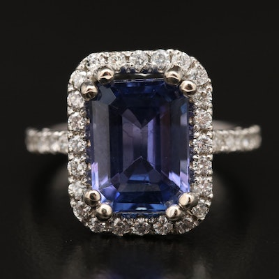 14K 4.66 CT Tanzanite and Diamond Ring
