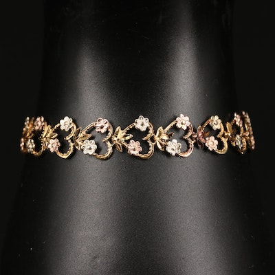 14K Tri-Color Gold Heart Link Bracelet with Floral Detailing