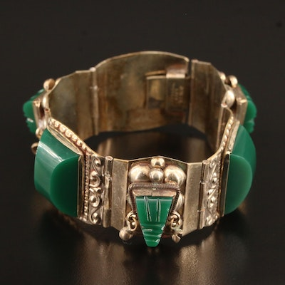 Vintage Taxco Mexican Sterling Silver Carved Chalcedony Panel Bracelet
