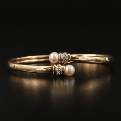 10K Pearl and Diamond Oval Bypass Bangle