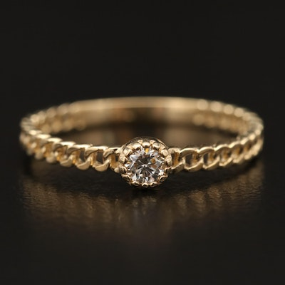 14K Diamond Solitaire Ring with Curb Link Motif