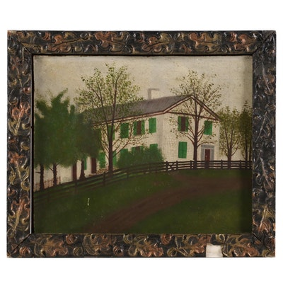 Folk Art Oil Painting of White Brick House