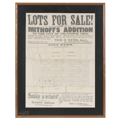 Reproduction Announcement Printed on Fabric of Columbus Ohio Lots for Sale