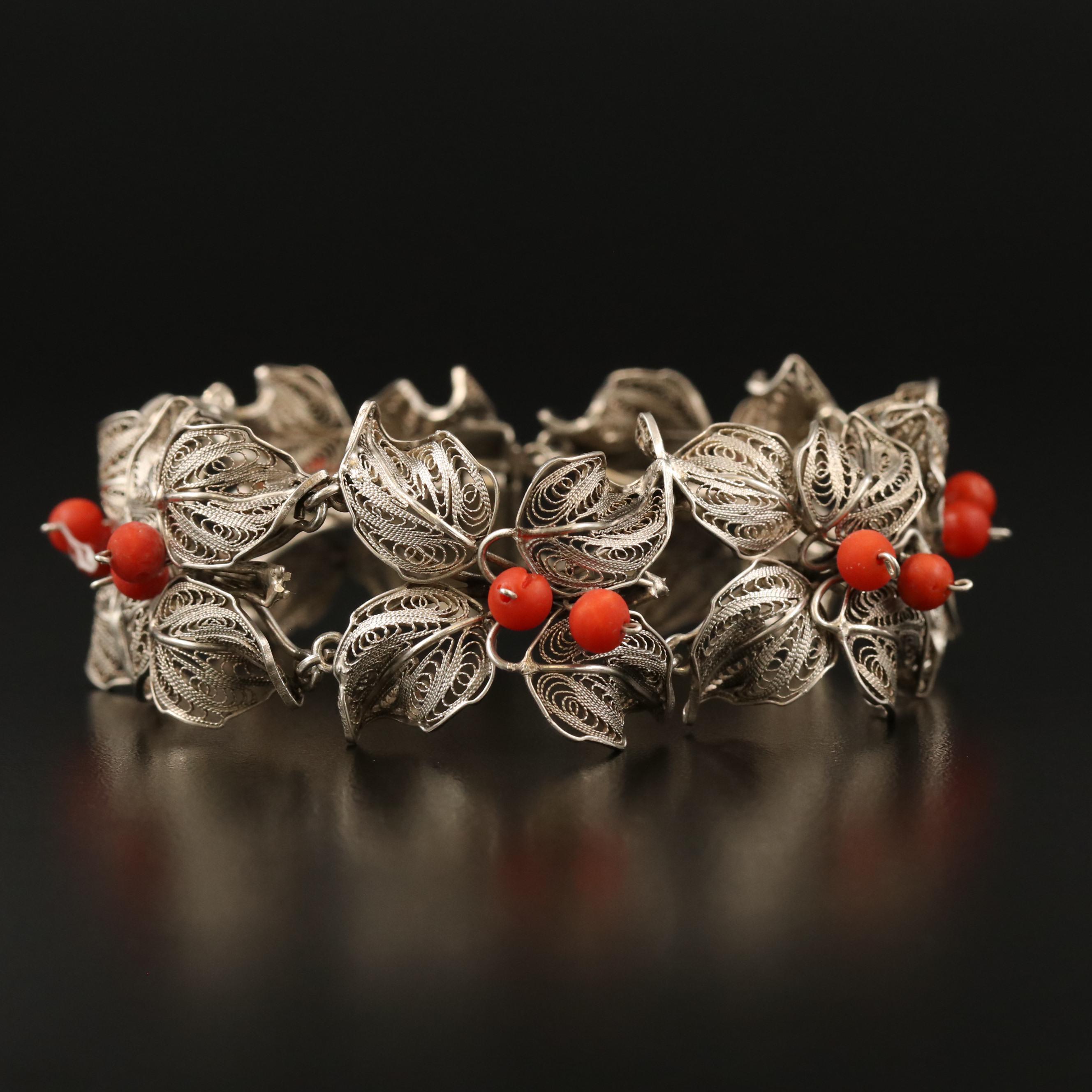 Coral Colour Stones 800 Silver Metal Filigree Panel Bracelet